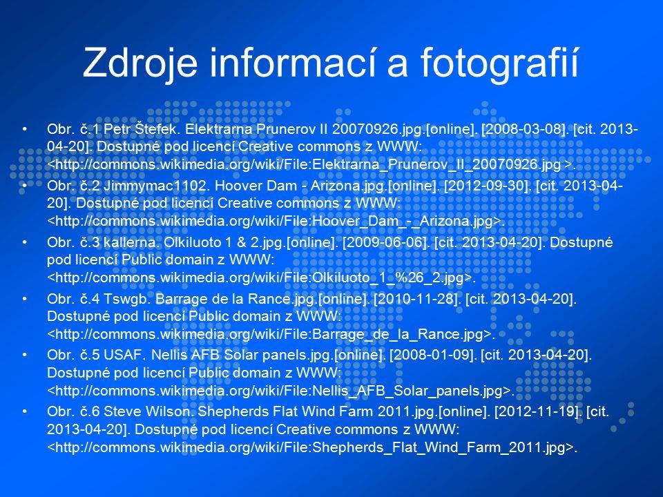 Zdroje informací a fotografií Obr. č.1 Petr Štefek.