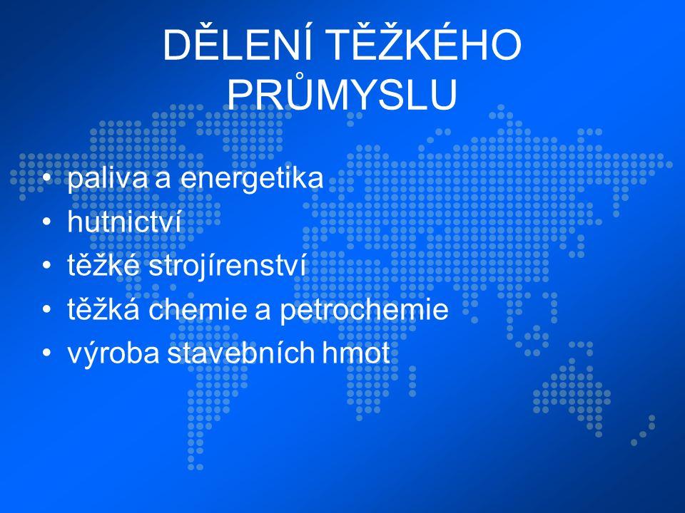 DĚLENÍ TĚŽKÉHO PRŮMYSLU paliva a energetika hutnictví těžké strojírenství těžká chemie a petrochemie výroba stavebních hmot