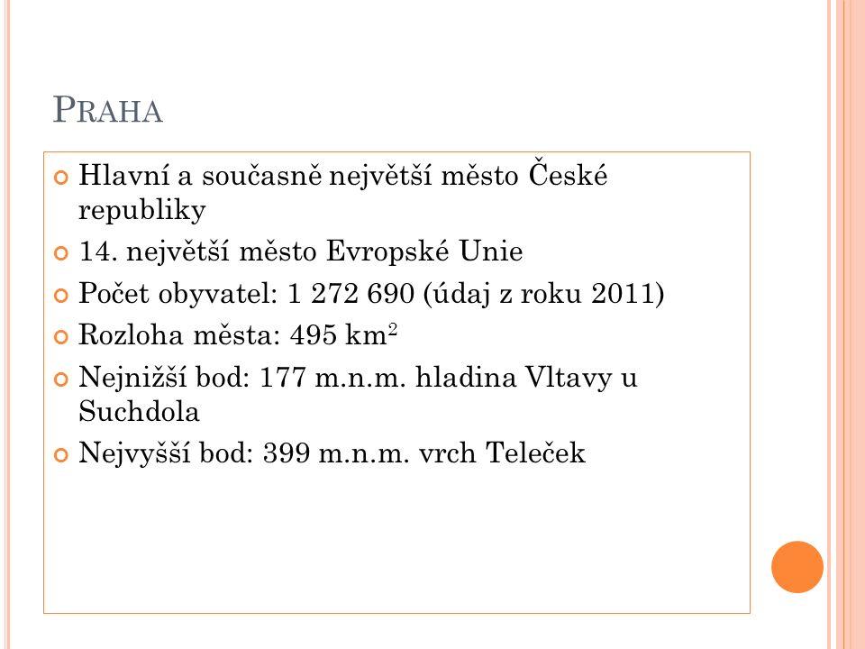 Ú ZEMNÍ ČLENĚNÍ Od roku 1960 je Praha rozdělena na 10 městských obvodů Praha má 57 samostatných městských částí (zastupitelstvo, rada, starosta a úřad městské části) V roce 2001 byla navíc Praha rozdělena na 22 správních obvodů Praha má specifické postavení obce i kraje