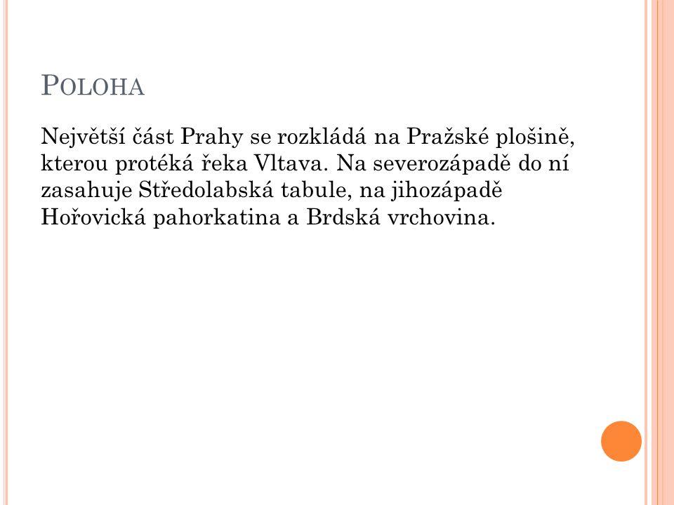 P OLOHA Největší část Prahy se rozkládá na Pražské plošině, kterou protéká řeka Vltava.