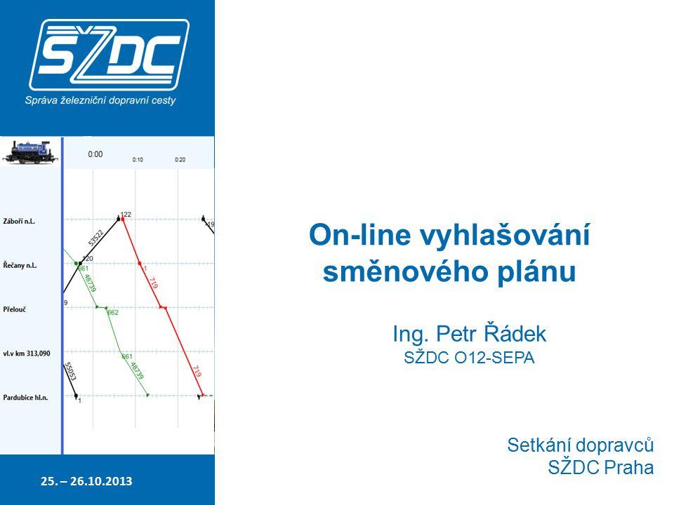 On-line vyhlašování směnového plánu Setkání dopravců SŽDC Praha Ing.