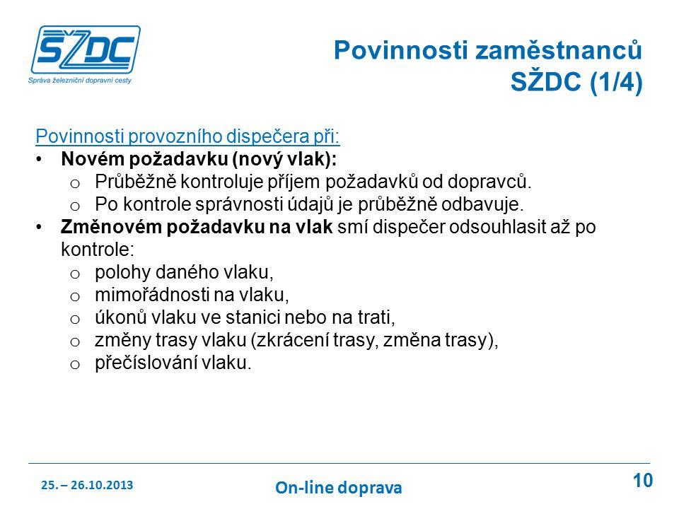 10 Povinnosti zaměstnanců SŽDC (1/4) Povinnosti provozního dispečera při: Novém požadavku (nový vlak): o Průběžně kontroluje příjem požadavků od dopravců.