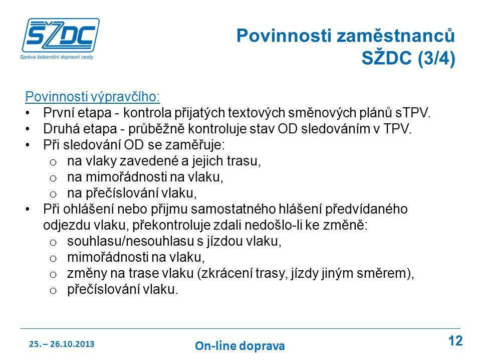 12 Povinnosti zaměstnanců SŽDC (3/4) Povinnosti výpravčího: První etapa - kontrola přijatých textových směnových plánů sTPV.