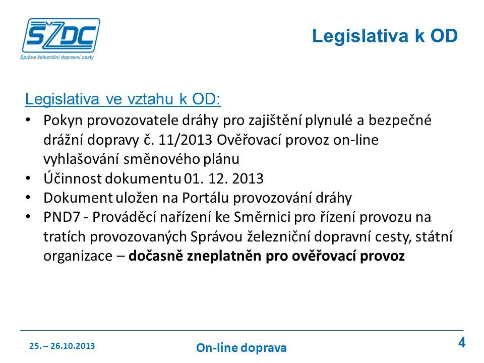 4 Legislativa k OD Legislativa ve vztahu k OD: Pokyn provozovatele dráhy pro zajištění plynulé a bezpečné drážní dopravy č.