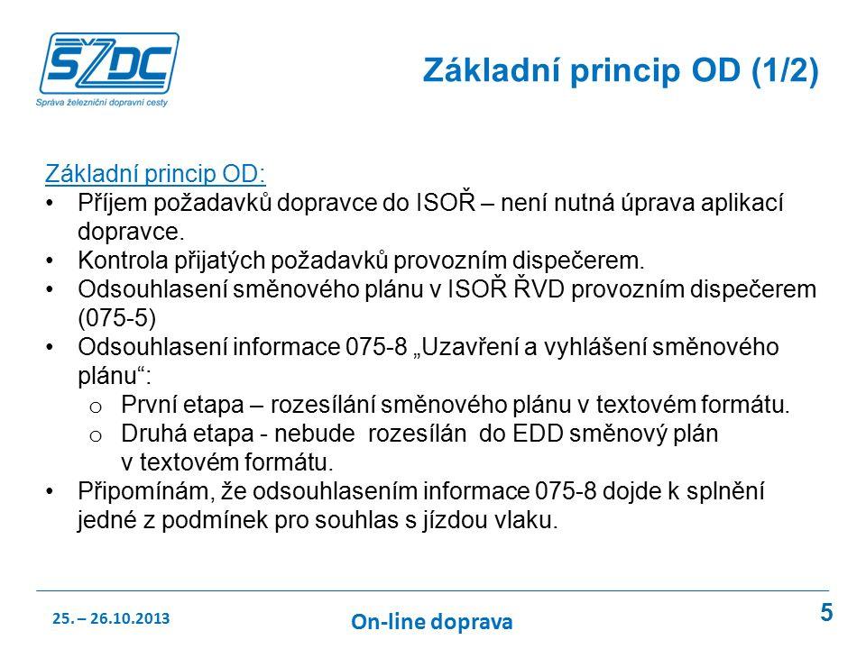 5 Základní princip OD (1/2) Základní princip OD: Příjem požadavků dopravce do ISOŘ – není nutná úprava aplikací dopravce.