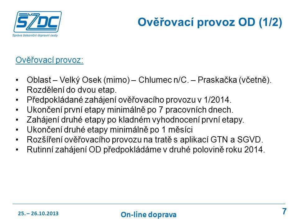 7 Ověřovací provoz OD (1/2) Ověřovací provoz: Oblast – Velký Osek (mimo) – Chlumec n/C.