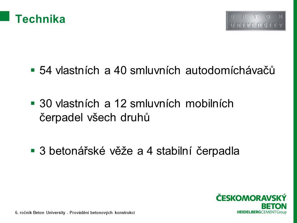  54 vlastních a 40 smluvních autodomíchávačů  30 vlastních a 12 smluvních mobilních čerpadel všech druhů  3 betonářské věže a 4 stabilní čerpadla 6.