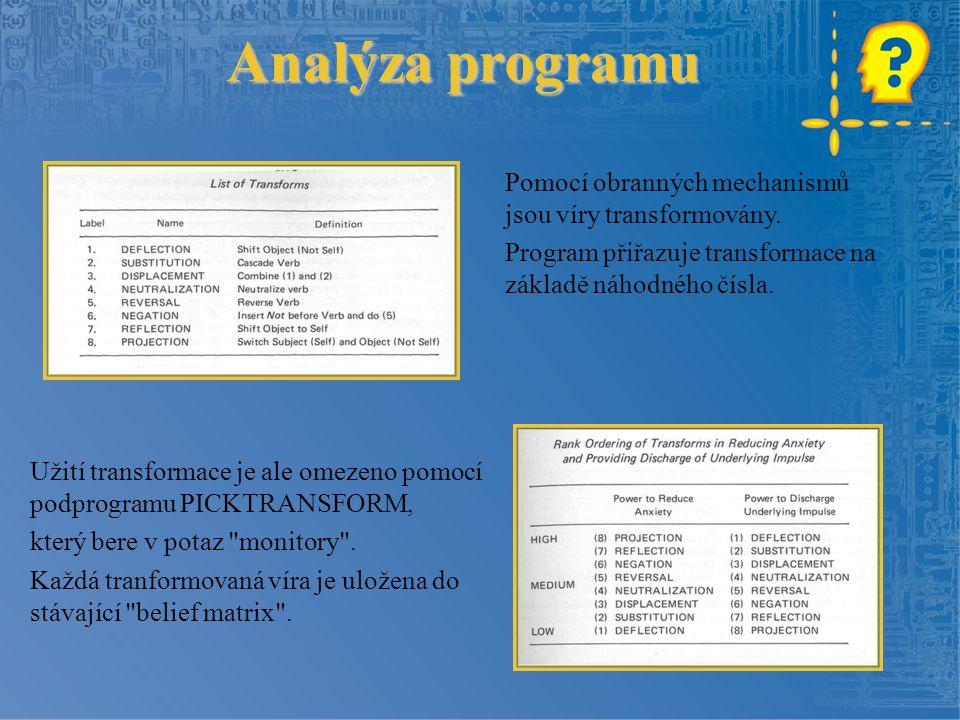 Analýza programu Pomocí obranných mechanismů jsou víry transformovány.