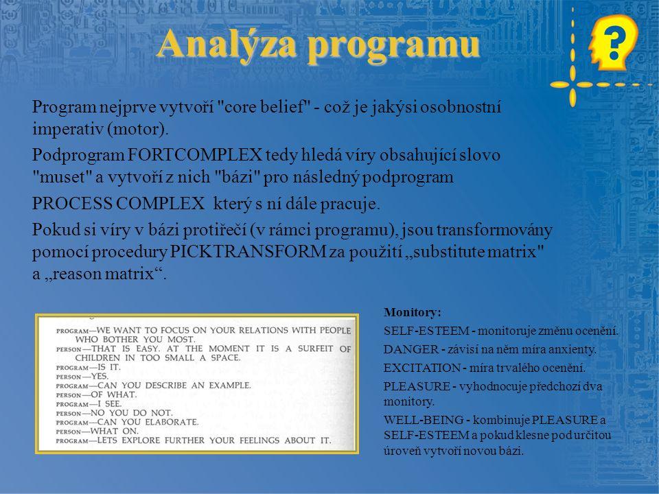 Analýza programu Program nejprve vytvoří core belief - což je jakýsi osobnostní imperativ (motor).