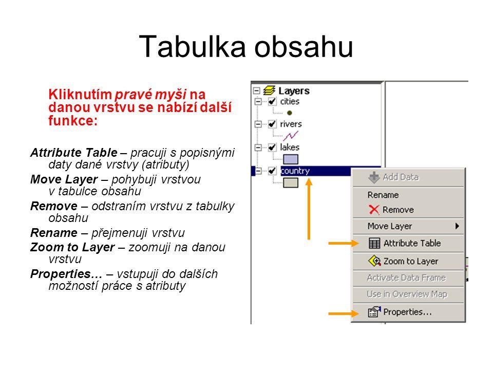 Tabulka obsahu Kliknutím pravé myši na danou vrstvu se nabízí další funkce: Attribute Table – pracuji s popisnými daty dané vrstvy (atributy) Move Layer – pohybuji vrstvou v tabulce obsahu Remove – odstraním vrstvu z tabulky obsahu Rename – přejmenuji vrstvu Zoom to Layer – zoomuji na danou vrstvu Properties… – vstupuji do dalších možností práce s atributy