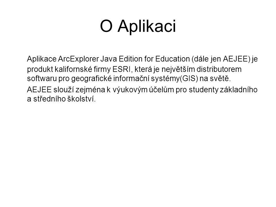 O Aplikaci Aplikace ArcExplorer Java Edition for Education (dále jen AEJEE) je produkt kalifornské firmy ESRI, která je největším distributorem softwaru pro geografické informační systémy(GIS) na světě.