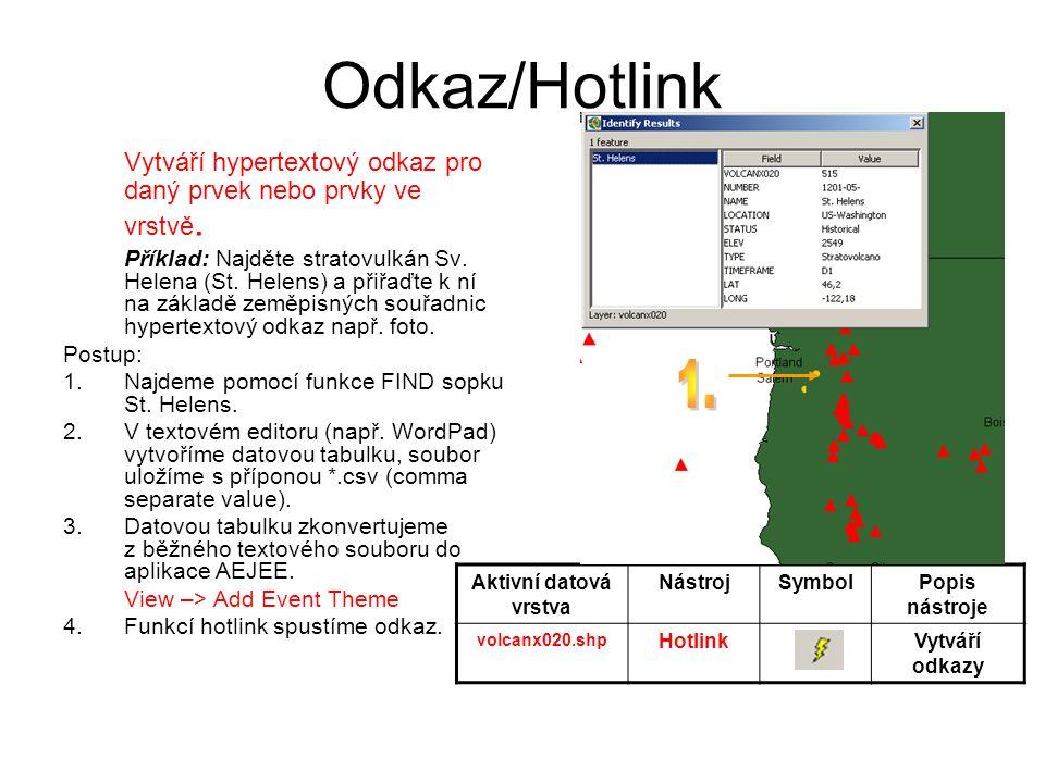 Odkaz/Hotlink Vytváří hypertextový odkaz pro daný prvek nebo prvky ve vrstvě.