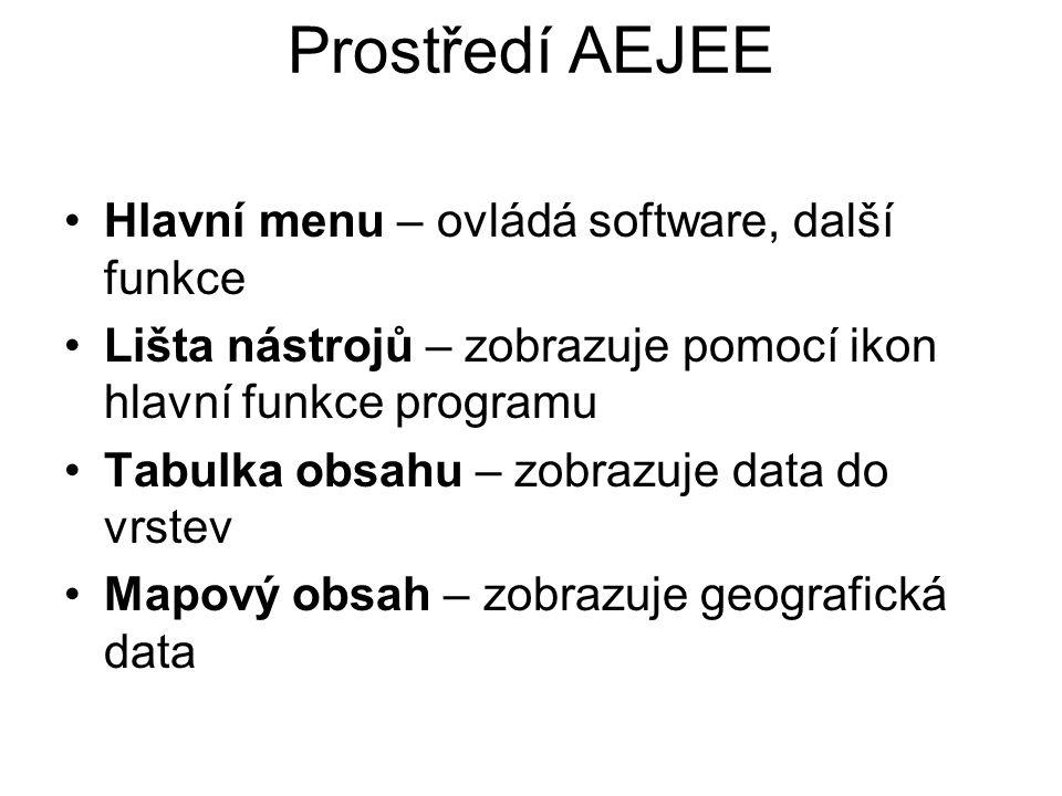 Prostředí AEJEE Hlavní menu – ovládá software, další funkce Lišta nástrojů – zobrazuje pomocí ikon hlavní funkce programu Tabulka obsahu – zobrazuje data do vrstev Mapový obsah – zobrazuje geografická data