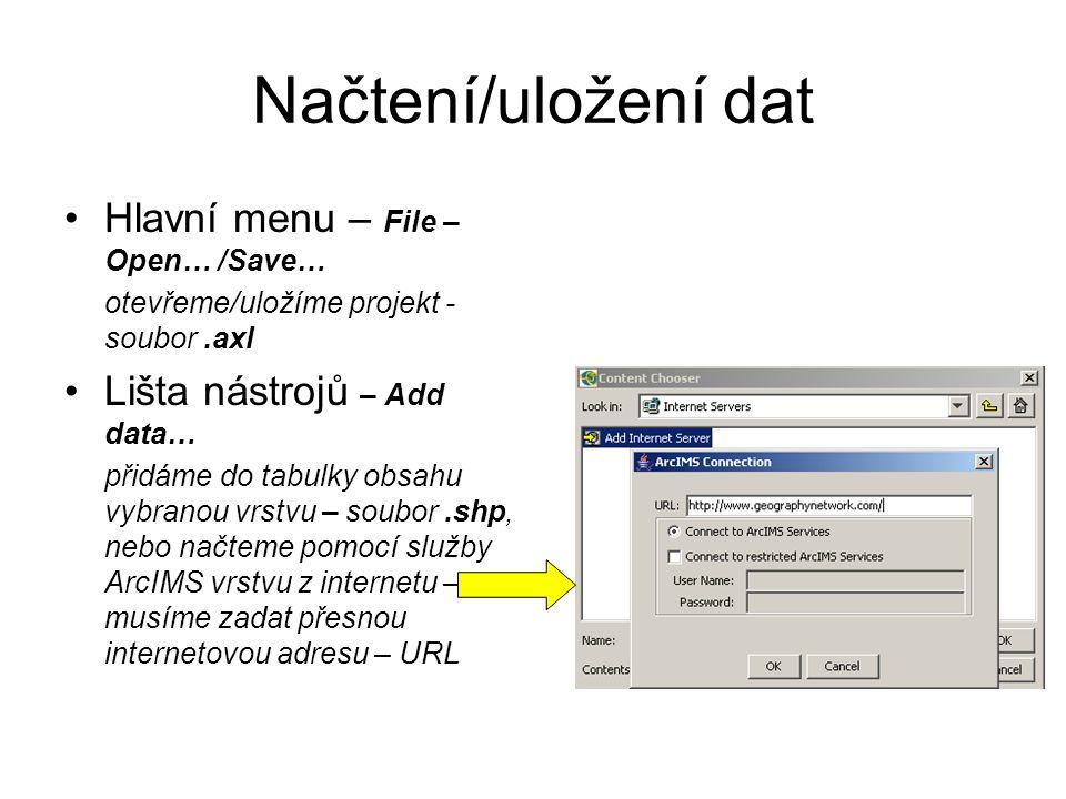 Načtení/uložení dat Hlavní menu – File – Open… /Save… otevřeme/uložíme projekt - soubor.axl Lišta nástrojů – Add data… přidáme do tabulky obsahu vybranou vrstvu – soubor.shp, nebo načteme pomocí služby ArcIMS vrstvu z internetu – musíme zadat přesnou internetovou adresu – URL
