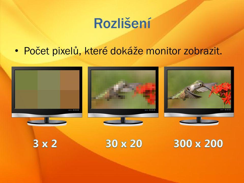 Rozlišení Počet pixelů, které dokáže monitor zobrazit.
