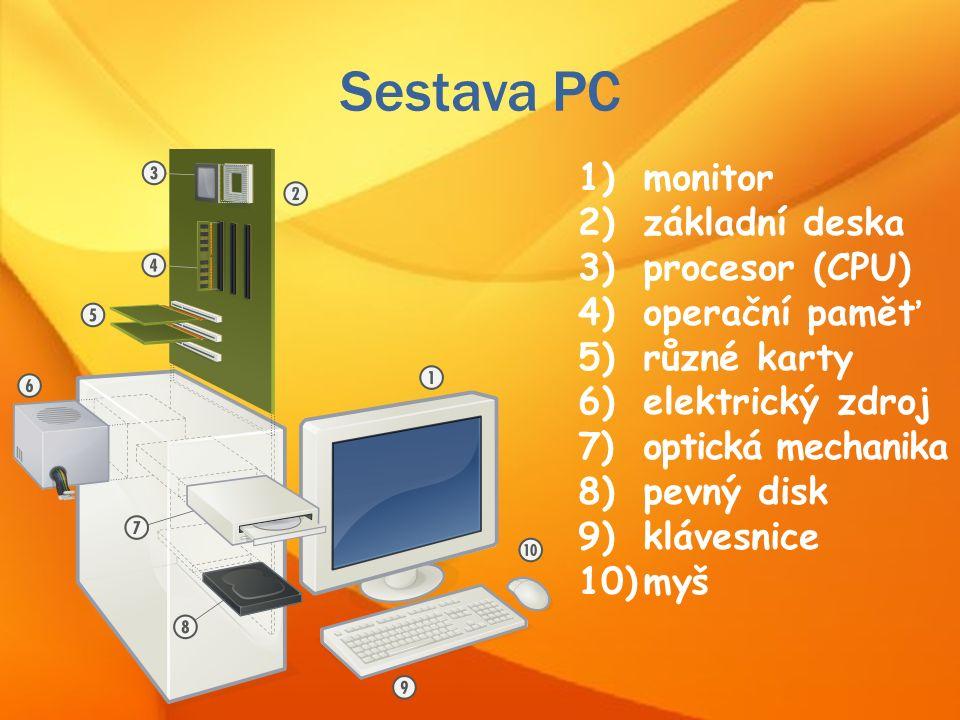 Sestava PC 1)monitor 2)základní deska 3)procesor (CPU) 4)operační paměť 5)různé karty 6)elektrický zdroj 7)optická mechanika 8)pevný disk 9)klávesnice 10)myš