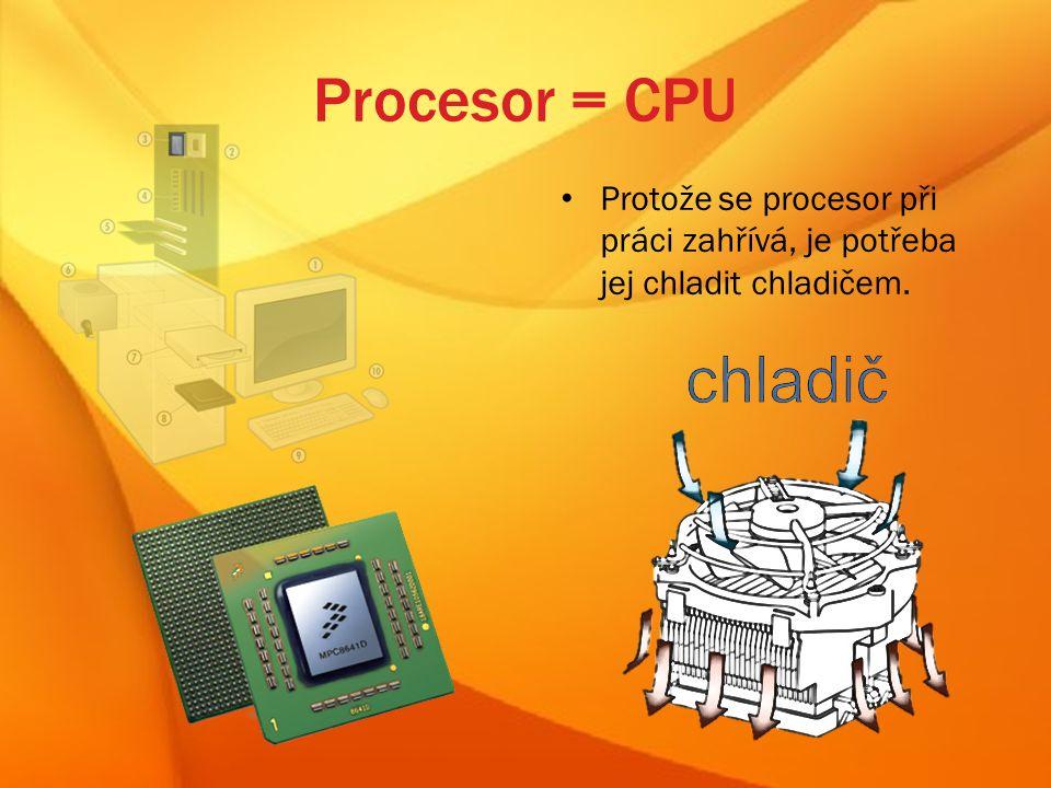 Procesor = CPU Protože se procesor při práci zahřívá, je potřeba jej chladit chladičem.