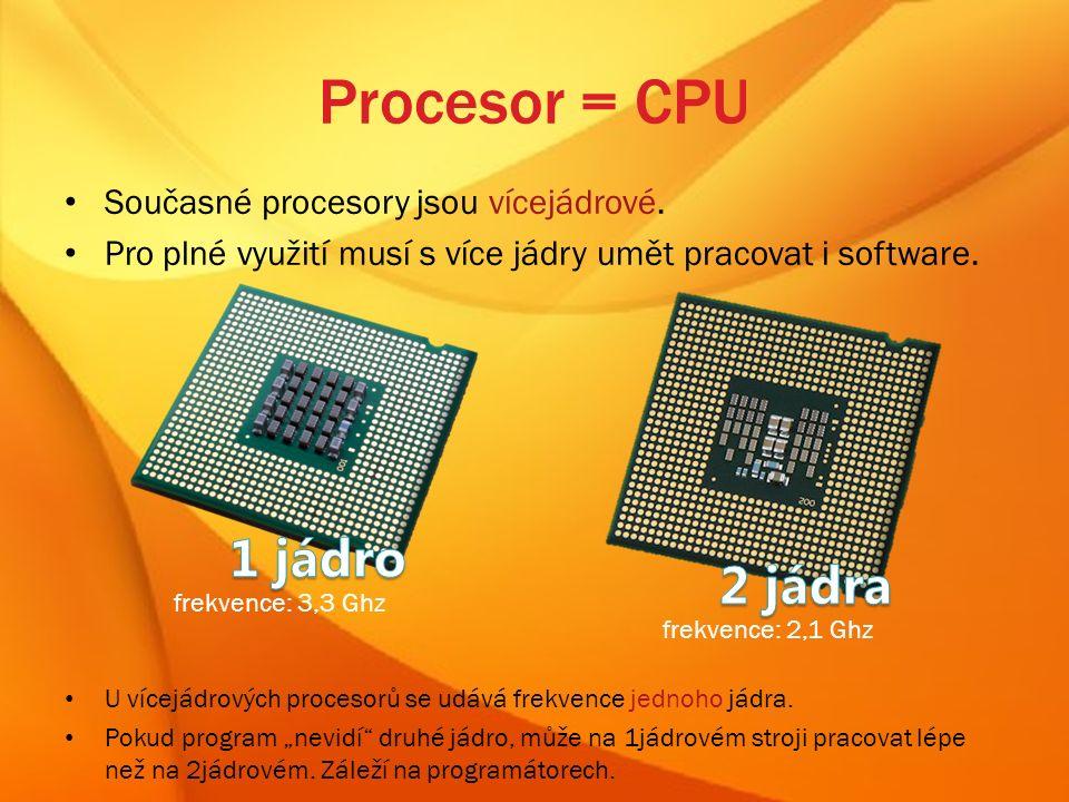 Procesor = CPU Současné procesory jsou vícejádrové.