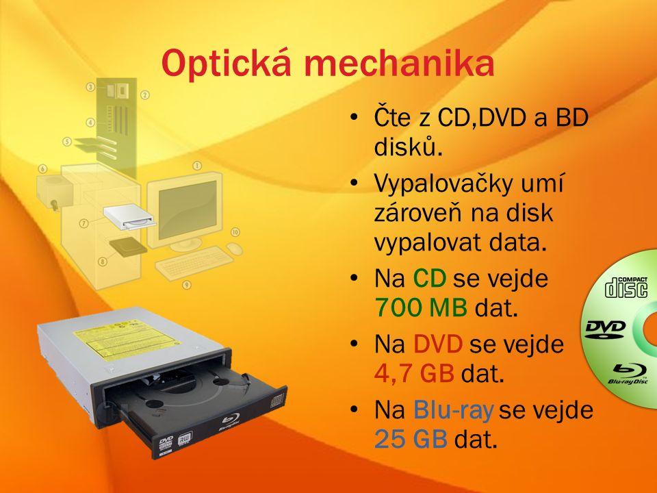 Optická mechanika Čte z CD,DVD a BD disků. Vypalovačky umí zároveň na disk vypalovat data.