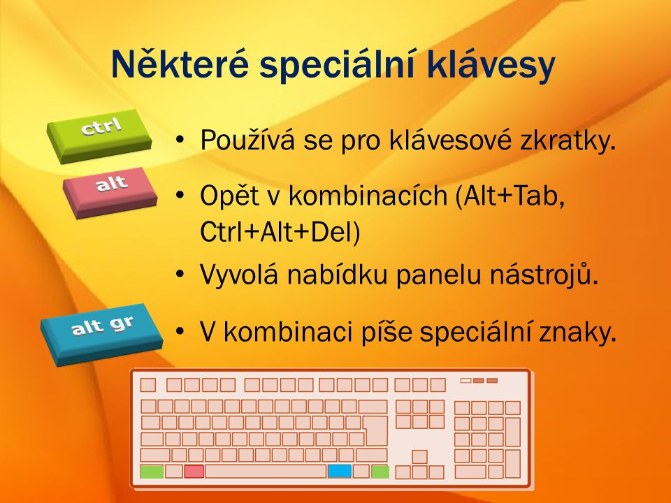 Některé speciální klávesy Používá se pro klávesové zkratky.