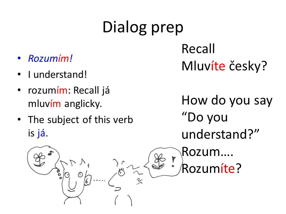 Dialog prep Rozumím. I understand. rozumím: Recall já mluvím anglicky.