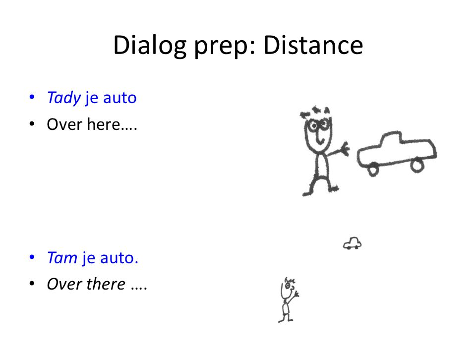 Dialog prep: Distance Tady je auto Over here…. Tam je auto. Over there ….