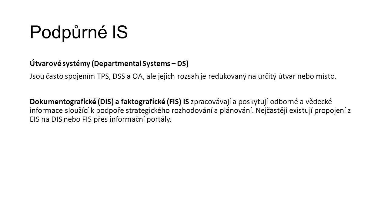 Podpůrné IS Útvarové systémy (Departmental Systems – DS) Jsou často spojením TPS, DSS a OA, ale jejich rozsah je redukovaný na určitý útvar nebo místo.