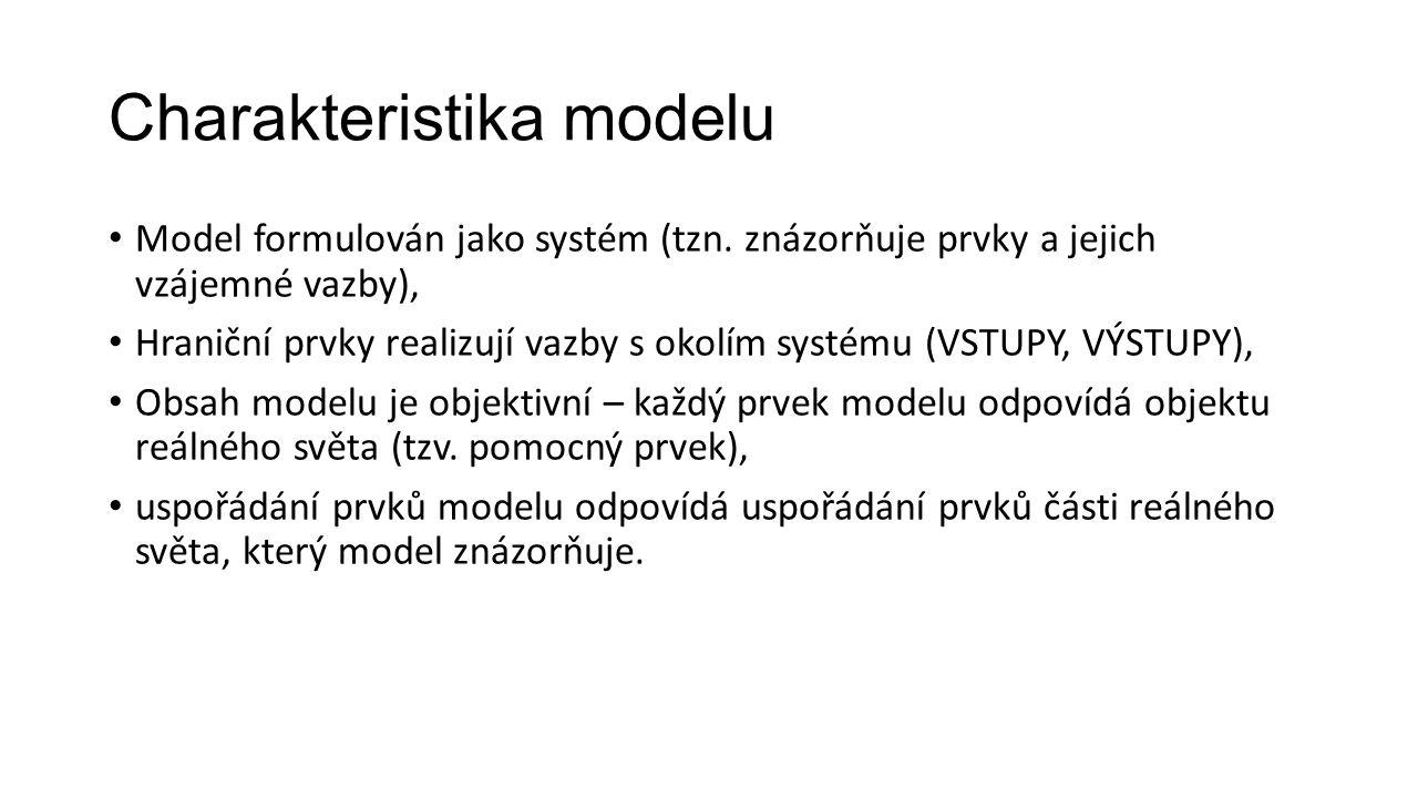 Charakteristika modelu Model formulován jako systém (tzn.