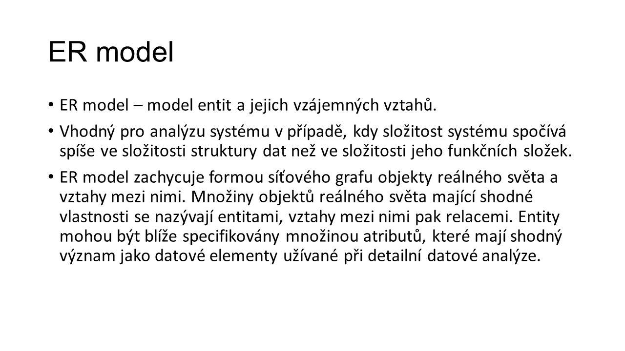 ER model ER model – model entit a jejich vzájemných vztahů.