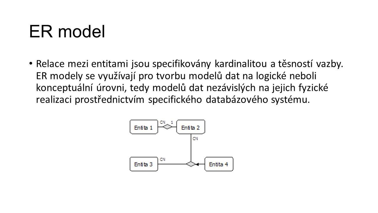 ER model Relace mezi entitami jsou specifikovány kardinalitou a těsností vazby.