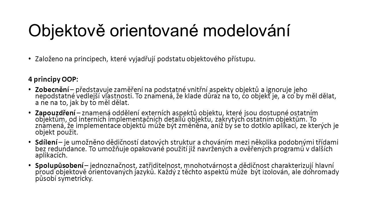 Objektově orientované modelování Založeno na principech, které vyjadřují podstatu objektového přístupu.