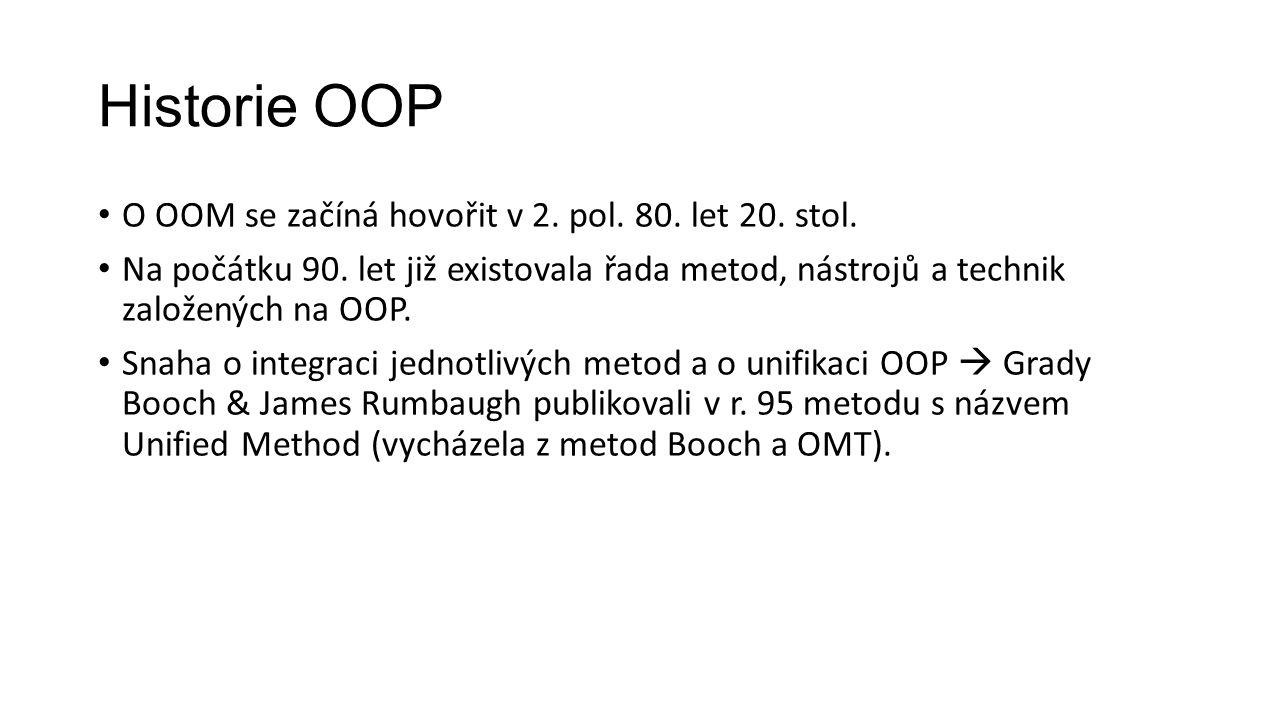 Historie OOP O OOM se začíná hovořit v 2.pol. 80.