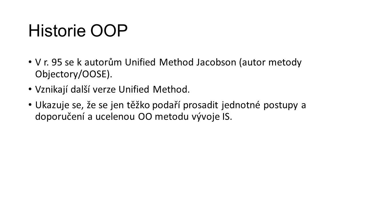 Historie OOP V r. 95 se k autorům Unified Method Jacobson (autor metody Objectory/OOSE). Vznikají další verze Unified Method. Ukazuje se, že se jen tě