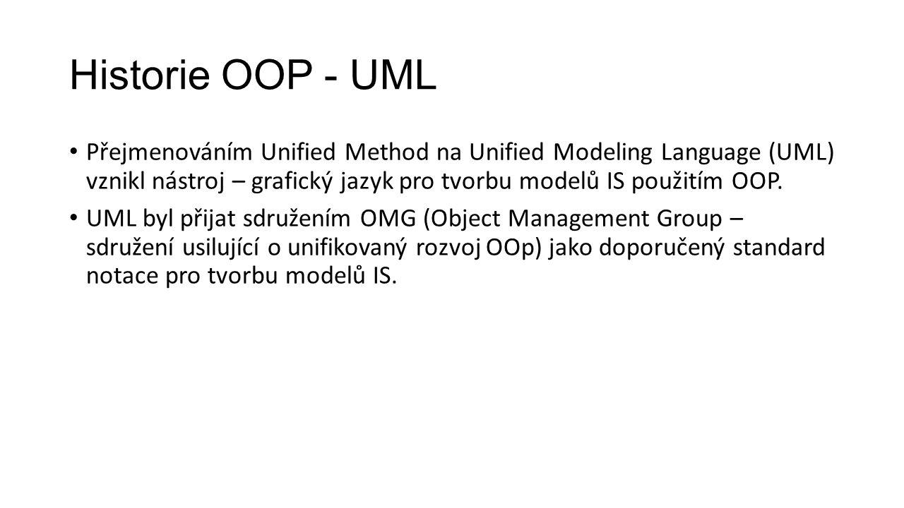 Historie OOP - UML Přejmenováním Unified Method na Unified Modeling Language (UML) vznikl nástroj – grafický jazyk pro tvorbu modelů IS použitím OOP.