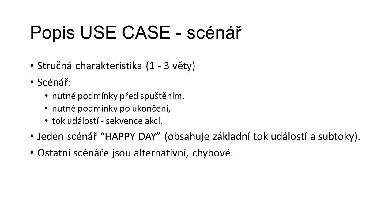 Popis USE CASE - scénář Stručná charakteristika (1 - 3 věty) Scénář: nutné podmínky před spuštěním, nutné podmínky po ukončení, tok událostí - sekvence akcí.