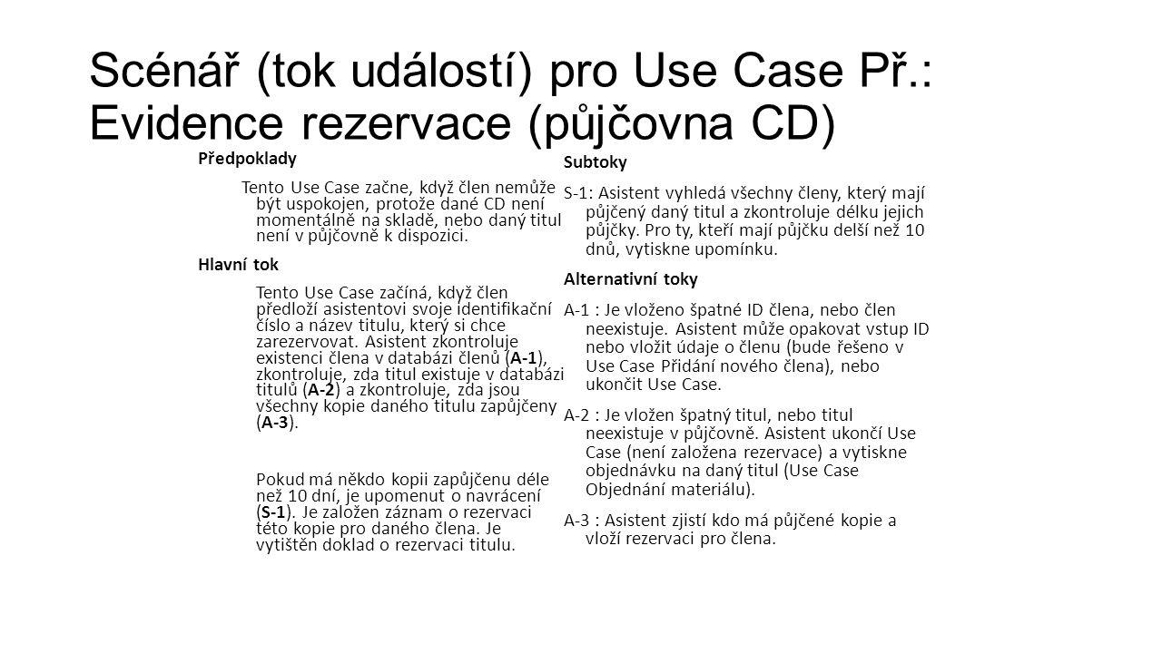 Scénář (tok událostí) pro Use Case Př.: Evidence rezervace (půjčovna CD) Předpoklady Tento Use Case začne, když člen nemůže být uspokojen, protože dané CD není momentálně na skladě, nebo daný titul není v půjčovně k dispozici.
