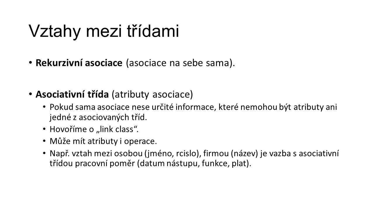 Vztahy mezi třídami Rekurzivní asociace (asociace na sebe sama).