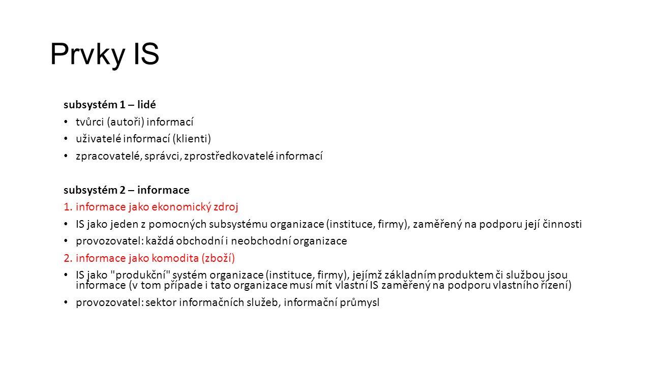 Prvky IS subsystém 1 – lidé tvůrci (autoři) informací uživatelé informací (klienti) zpracovatelé, správci, zprostředkovatelé informací subsystém 2 – informace 1.