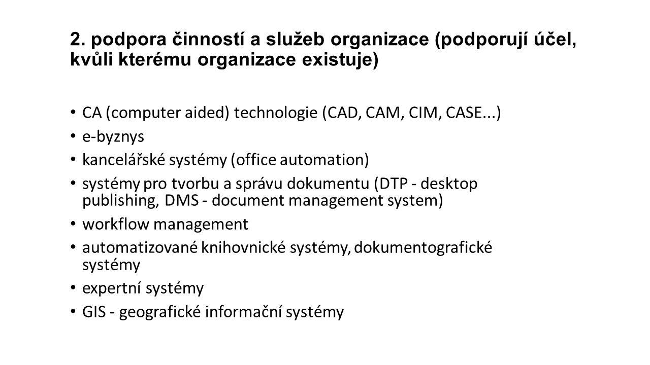 2. podpora činností a služeb organizace (podporují účel, kvůli kterému organizace existuje) CA (computer aided) technologie (CAD, CAM, CIM, CASE...) e