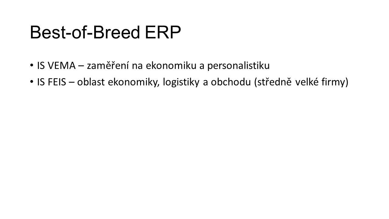 Best-of-Breed ERP IS VEMA – zaměření na ekonomiku a personalistiku IS FEIS – oblast ekonomiky, logistiky a obchodu (středně velké firmy)