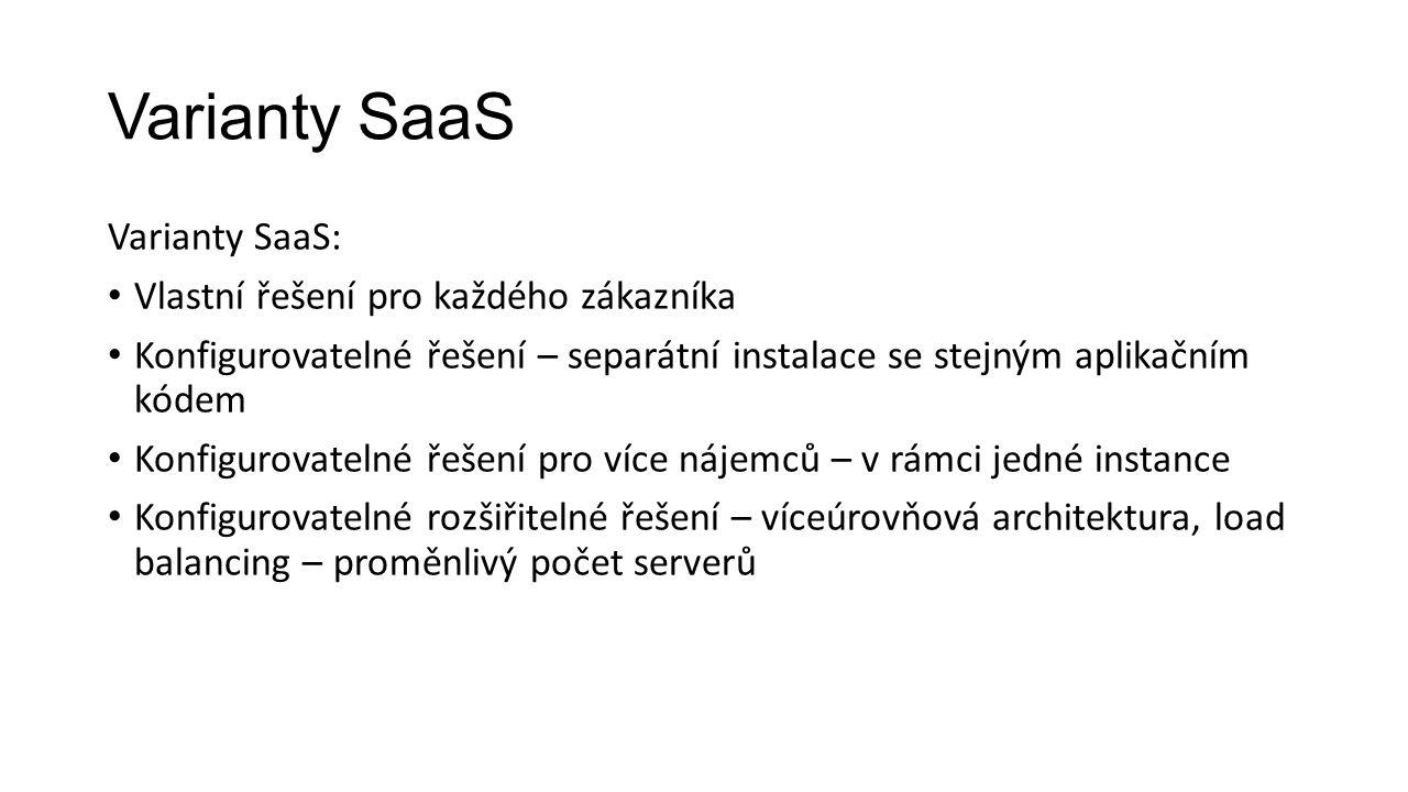 Varianty SaaS Varianty SaaS: Vlastní řešení pro každého zákazníka Konfigurovatelné řešení – separátní instalace se stejným aplikačním kódem Konfigurovatelné řešení pro více nájemců – v rámci jedné instance Konfigurovatelné rozšiřitelné řešení – víceúrovňová architektura, load balancing – proměnlivý počet serverů