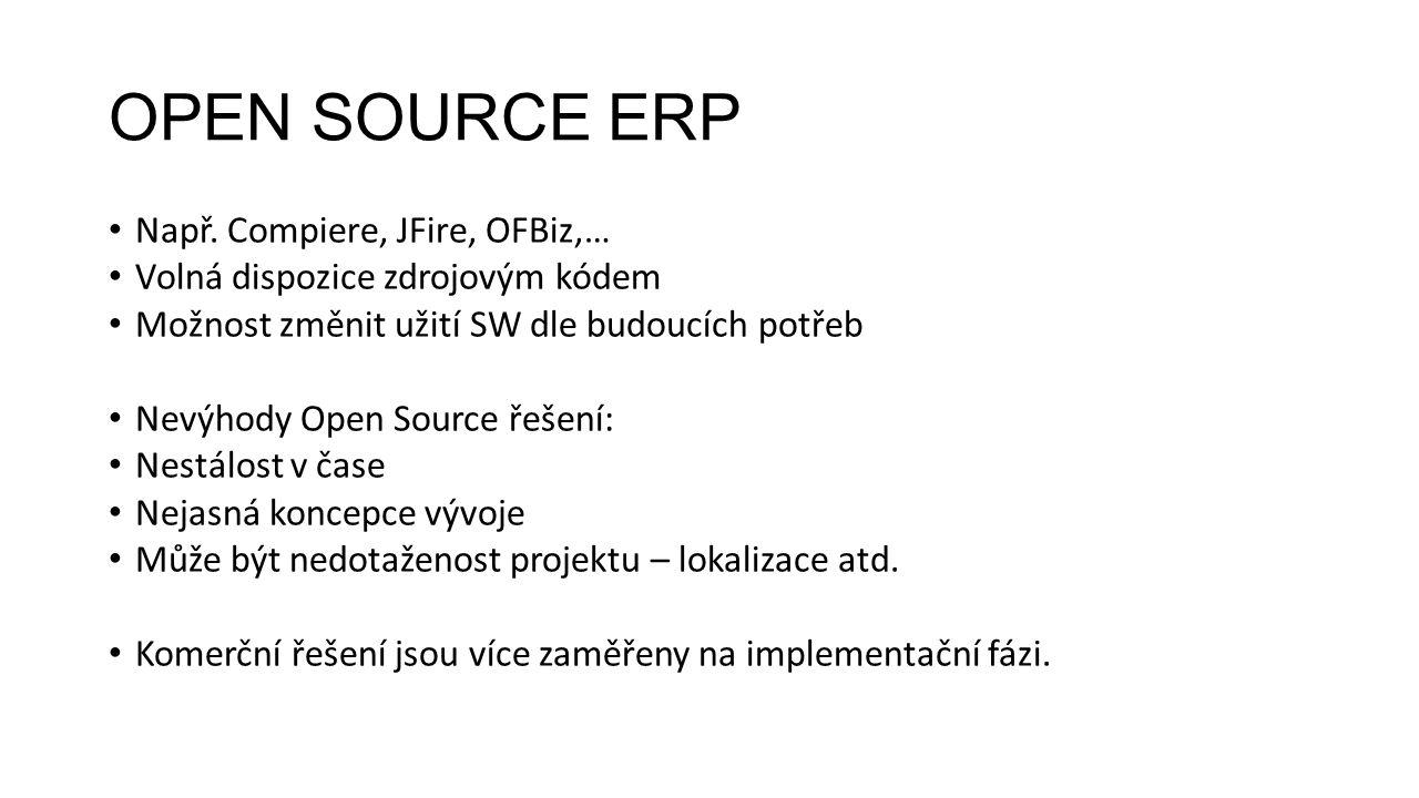 OPEN SOURCE ERP Např. Compiere, JFire, OFBiz,… Volná dispozice zdrojovým kódem Možnost změnit užití SW dle budoucích potřeb Nevýhody Open Source řešen
