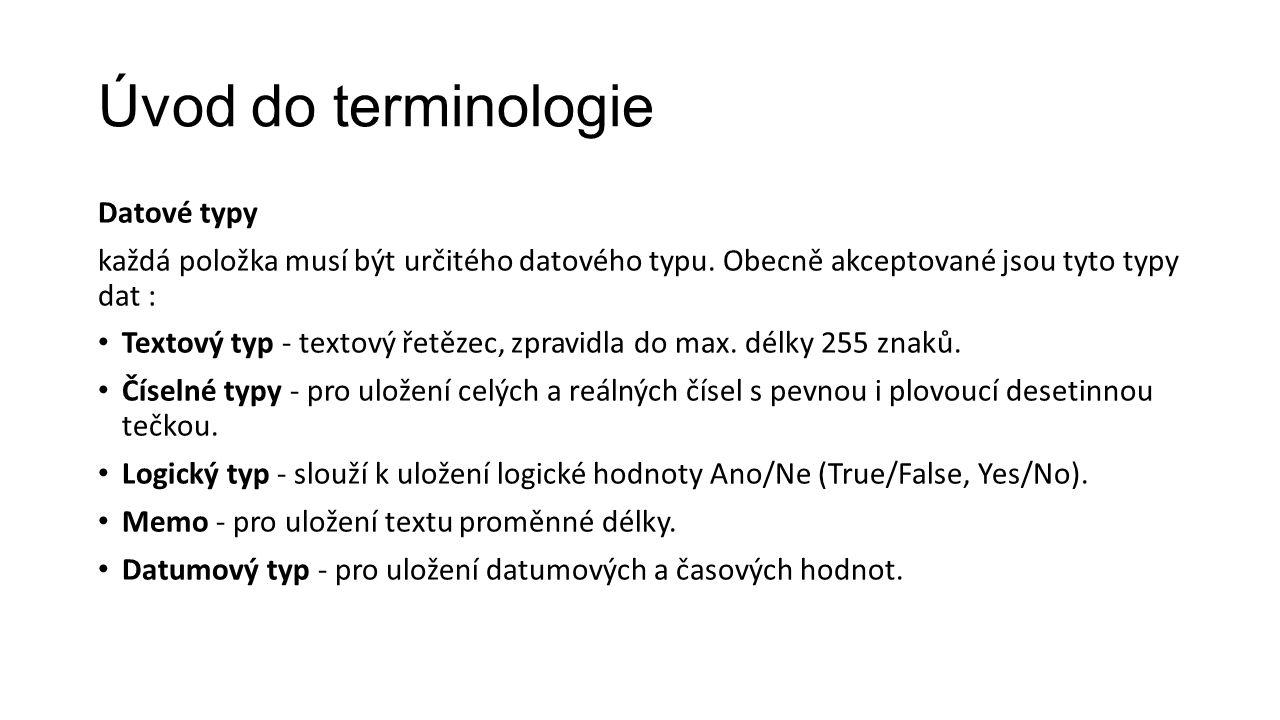 Úvod do terminologie Datové typy každá položka musí být určitého datového typu.