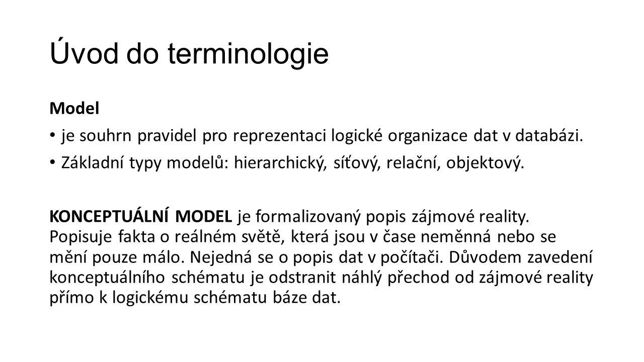 Úvod do terminologie Model je souhrn pravidel pro reprezentaci logické organizace dat v databázi.