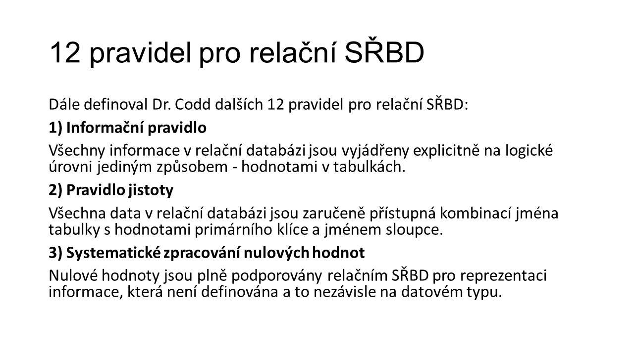 12 pravidel pro relační SŘBD Dále definoval Dr.