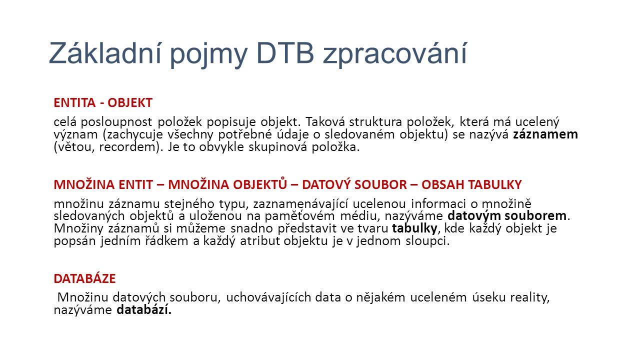 Základní pojmy DTB zpracování ENTITA - OBJEKT celá posloupnost položek popisuje objekt.