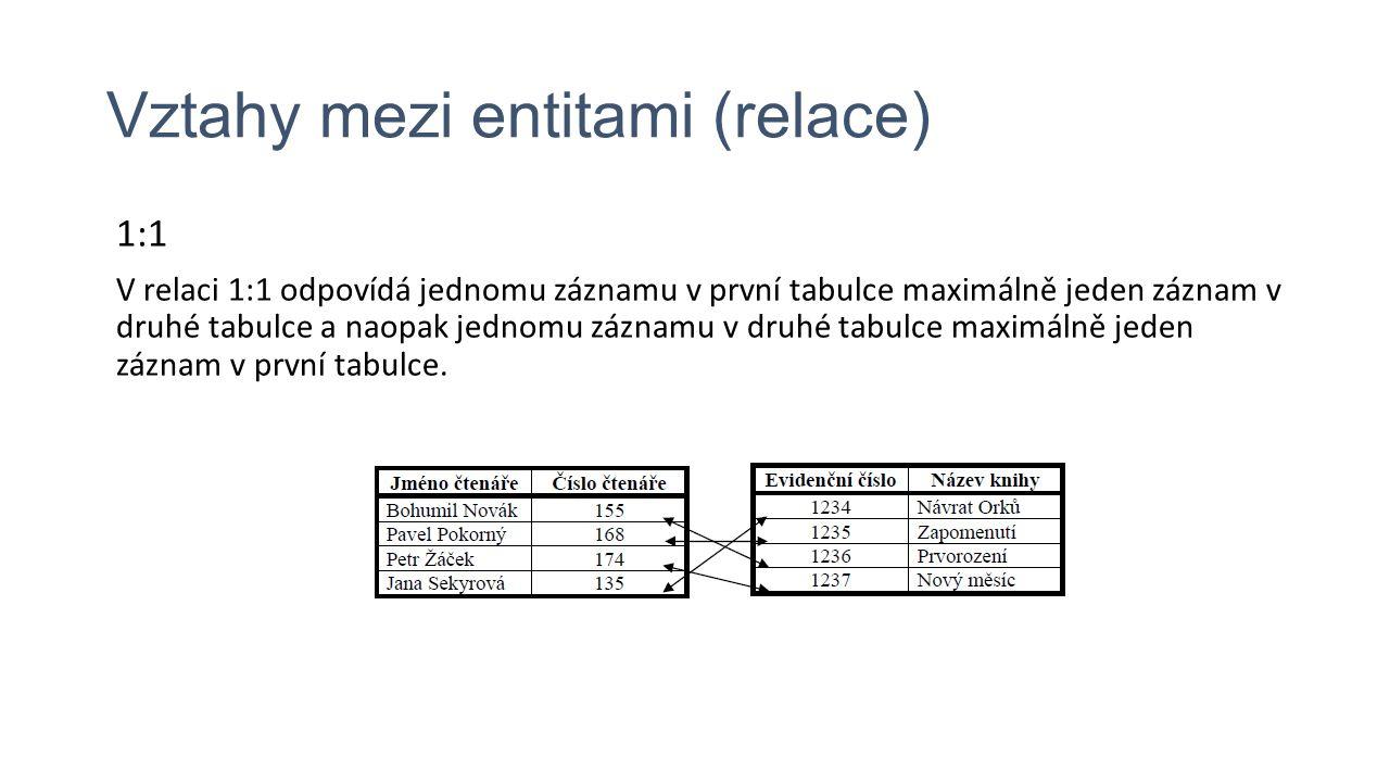 Vztahy mezi entitami (relace) 1:1 V relaci 1:1 odpovídá jednomu záznamu v první tabulce maximálně jeden záznam v druhé tabulce a naopak jednomu záznamu v druhé tabulce maximálně jeden záznam v první tabulce.