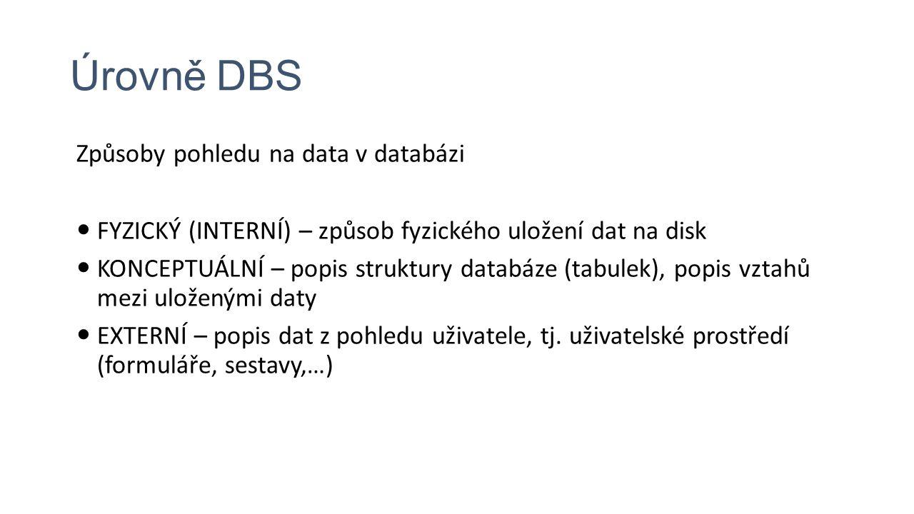 Úrovně DBS Způsoby pohledu na data v databázi FYZICKÝ (INTERNÍ) – způsob fyzického uložení dat na disk KONCEPTUÁLNÍ – popis struktury databáze (tabulek), popis vztahů mezi uloženými daty EXTERNÍ – popis dat z pohledu uživatele, tj.