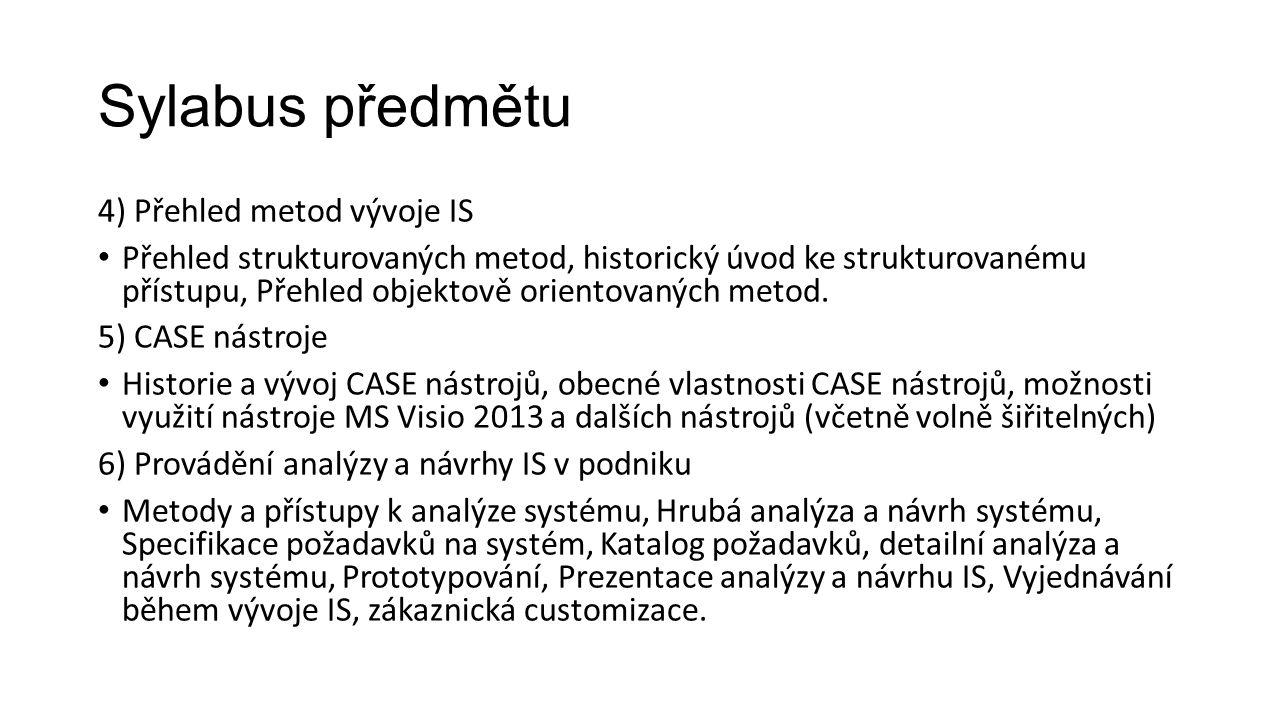 Sylabus předmětu 4) Přehled metod vývoje IS Přehled strukturovaných metod, historický úvod ke strukturovanému přístupu, Přehled objektově orientovaných metod.