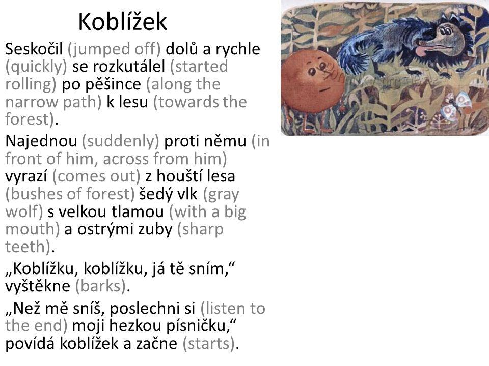Koblížek Seskočil (jumped off) dolů a rychle (quickly) se rozkutálel (started rolling) po pěšince (along the narrow path) k lesu (towards the forest).
